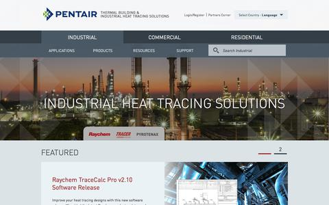 Screenshot of Home Page pentairthermal.com - Industrial - captured Feb. 17, 2018