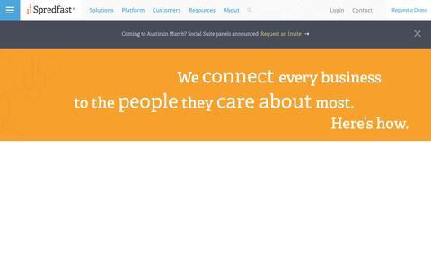 Screenshot of Home Page spredfast.com - Social Media Experience Management Software Platform   Spredfast - captured Feb. 28, 2017