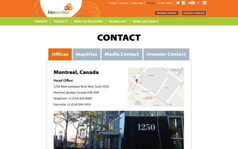 Screenshot of Contact Page bio-amber.com - Contacts - captured Dec. 3, 2015