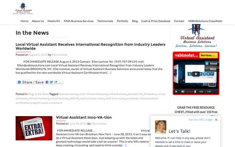 Screenshot of Press Page vabizsolutions.com - In the News | Virtual Assistant Business Solutions- MVA Certified Worldwide - captured Sept. 23, 2015