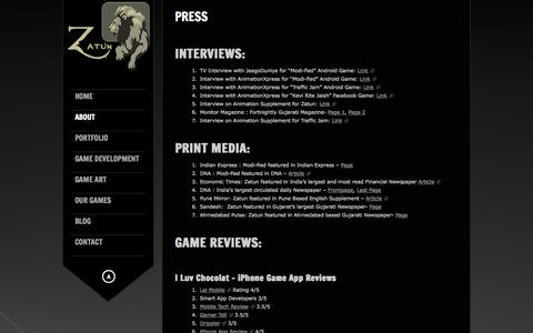 Screenshot of Press Page zatun.com - Zatun - Game Press Release,Print Media,Game Reviews and Game Magazines - captured Sept. 19, 2014