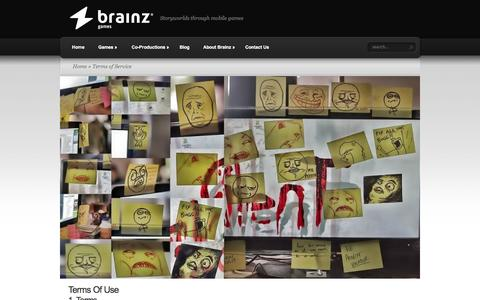 Screenshot of Terms Page brainz.co - Terms of Service | Brainz Games - captured Sept. 13, 2014