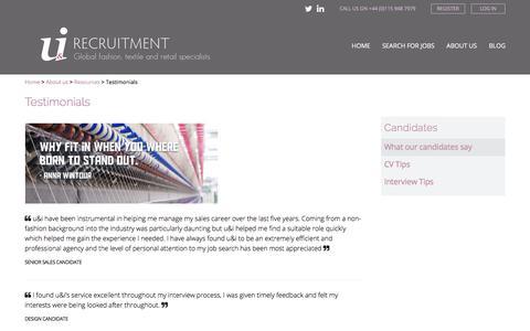 Screenshot of Testimonials Page uandirecruitment.co.uk - Testimonials - u&i Recruitment - captured Oct. 24, 2017