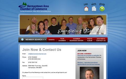 Screenshot of Contact Page hermantownchamber.com - Hermantown Area Chamber of Commerce - captured Oct. 2, 2014