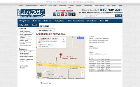 Screenshot of Contact Page Locations Page arwoodsfurniture.com - Contact Arwood's Furniture & Mattress in Missouri - captured Feb. 6, 2016
