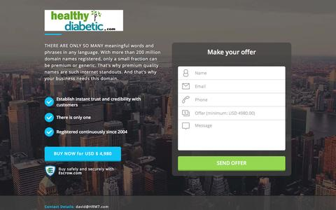 Screenshot of Home Page healthydiabetic.com - HealthyDiabetic.com domain name is for sale. Inquire now. - captured Nov. 24, 2016
