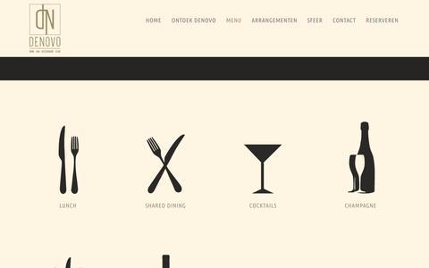 Screenshot of Menu Page denovobreda.nl - De menukaart van wijnbar, brasserie en club Denovo Breda | DENOVO - captured Oct. 4, 2014
