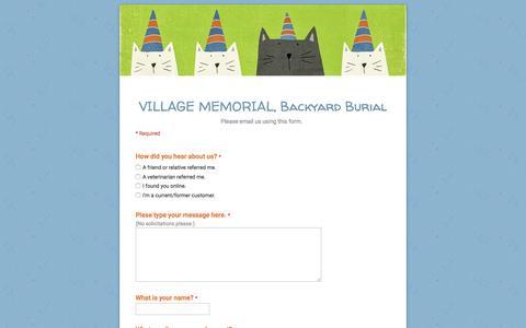 Screenshot of Contact Page google.com - VILLAGE MEMORIAL, Backyard Burial - captured May 4, 2017