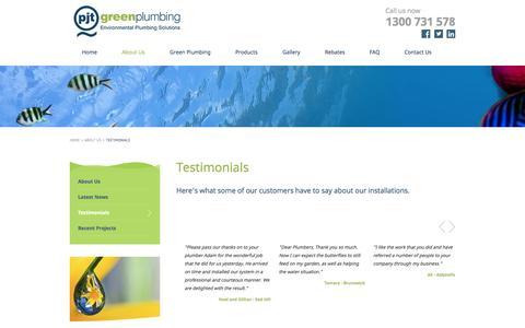 Screenshot of Testimonials Page pjtgreenplumbing.com.au - Testimonials - PJT Green Plumbing - captured Oct. 28, 2014