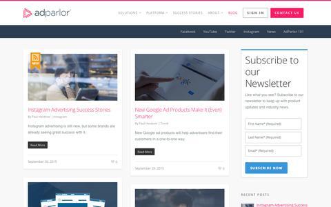 Screenshot of Blog adparlor.com - Blog | AdParlor - captured Oct. 2, 2015