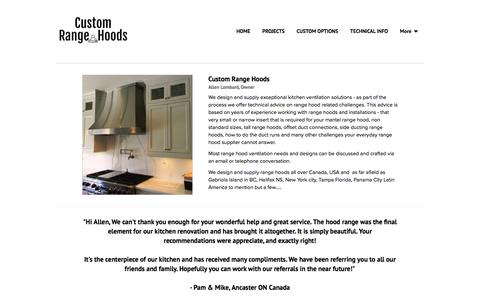 Screenshot of About Page customrangehoods.ca - ABOUT - Custom Range Hoods - captured Jan. 27, 2020