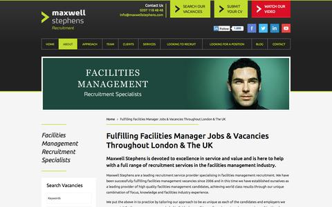 Screenshot of About Page maxwellstephens.com - Fulfilling Facilities Management & FM Manager Vacancies and Jobs since 2006 - captured Oct. 27, 2014