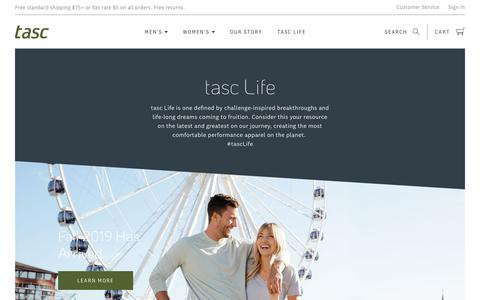 Screenshot of Press Page tascperformance.com - tasc Life              – tasc Performance - captured Sept. 21, 2019