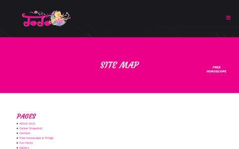 Screenshot of Site Map Page jojosavard.com - JoJo Savard |   Site Map - captured April 28, 2017