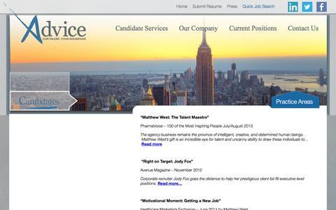 Screenshot of Press Page adviceny.com - Press » Advice - captured Nov. 2, 2014