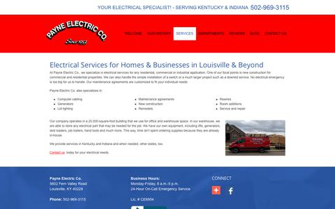 Screenshot of Services Page payneelectricco.com - Our Services | Payne Electric Co. | Louisville, Kentucky - captured July 18, 2017