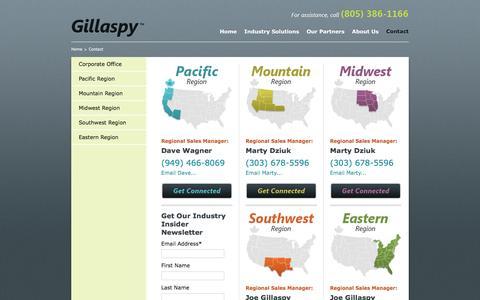 Screenshot of Contact Page gillaspysales.com - Contact - Gillaspy Associates - captured Nov. 7, 2016