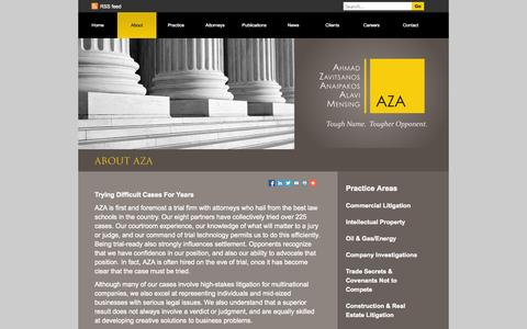 Screenshot of About Page azalaw.com - About AZA - AZA Law - captured Oct. 4, 2014