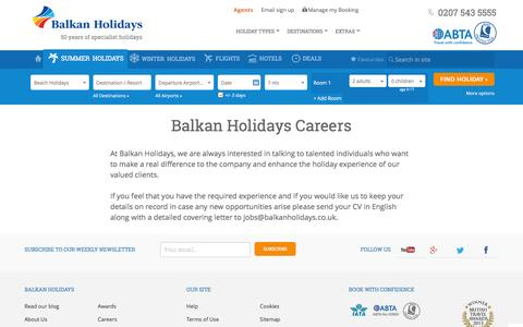 Screenshot of Jobs Page balkanholidays.co.uk - Careers and job opportunities | Balkan Holidays - captured July 28, 2016