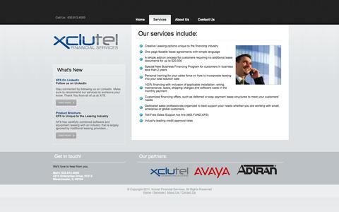 Screenshot of Services Page xfsleasing.com - Xclutel Financial | Services - captured Oct. 4, 2014