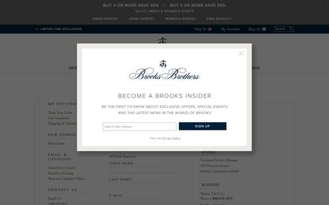 Screenshot of Support Page brooksbrothers.com - Brooks Brothers | Contact Us - captured April 27, 2016