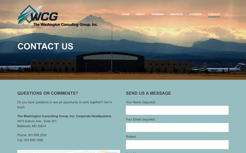 Screenshot of Contact Page washcg.com - The Washington Consulting Group, Inc. |   Contact Us - captured Oct. 18, 2018