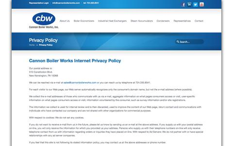 Screenshot of Privacy Page cannonboilerworks.com - Cannon Boiler Works | Internet Privacy Policy - captured Nov. 1, 2014