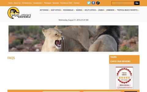 Screenshot of FAQ Page falconsafaris.com - FAQs Falcon Safaris - captured Aug. 30, 2016