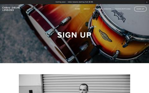 Screenshot of Signup Page beatindustry.com - Sign Up — Chris' Drum Lessons - captured Nov. 22, 2016