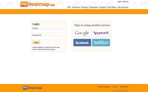 Screenshot of Maps & Directions Page myheatmap.com - myHeatmap.com — Create and share heatmaps using geospatial data - captured Oct. 9, 2014