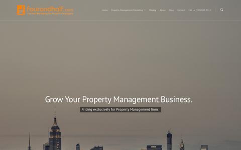 Screenshot of Pricing Page fourandhalf.com - Pricing - Fourandhalf - Internet Marketing for Property Management Companies - captured Feb. 10, 2016