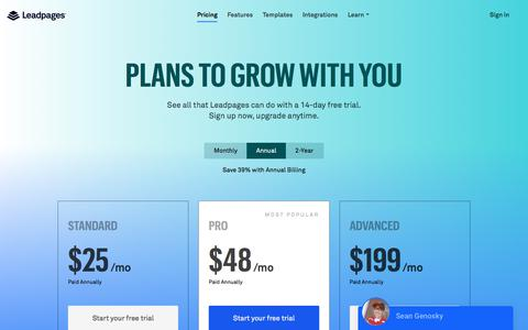 Screenshot of Pricing Page leadpages.net - Leadpages® Pricing - Get Started Today For Free - captured Feb. 28, 2018