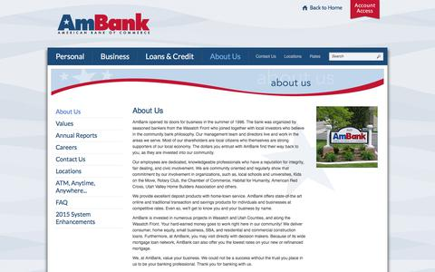 Screenshot of About Page myambank.com - About American Bank of Commerce | Provo, UT - Lindon, UT - Heber City, UT - captured Oct. 8, 2017