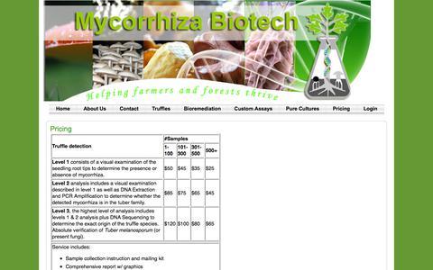 Screenshot of Pricing Page mycorrhizabiotech.com - Pricing | Mycorrhiza Biotech - captured Sept. 20, 2018