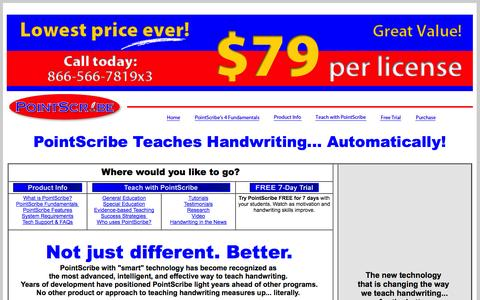 Screenshot of Home Page pointscribe.com - PointScribe Interactive Handwriting Program | Home - captured Oct. 3, 2014