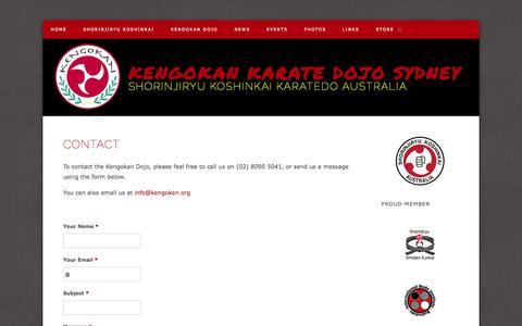 Screenshot of Contact Page kengokan.com - Kengokan Karate Dojo Sydney - Contact - captured Oct. 6, 2014