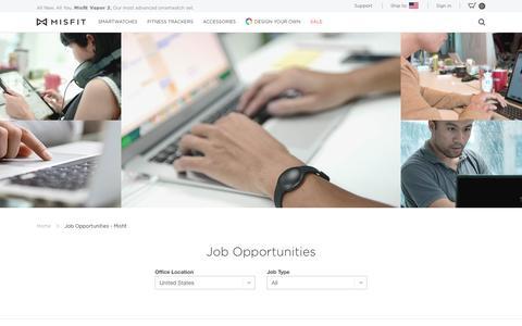 Screenshot of Jobs Page misfit.com - Jobs - Misfit - captured March 2, 2019