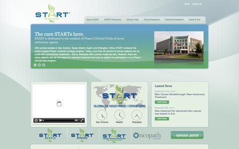 Screenshot of Home Page startthecure.com - START - South Texas Accelerated Research Therapeutics - captured Oct. 3, 2014