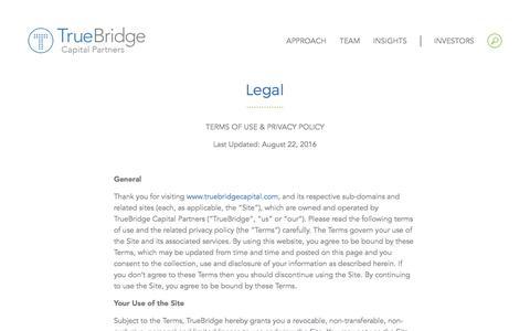 Screenshot of Terms Page truebridgecapital.com - Legal - TrueBridge Capital Partners - captured Dec. 20, 2016