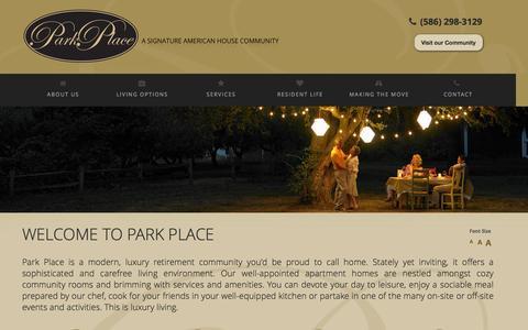 Screenshot of Home Page parkplacewarren.com - Assisted Living - Senior Assisted Living Care Facilities | Warren, MI - captured Sept. 10, 2015