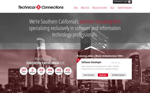 Screenshot of Home Page tci-la.com - Technical Connections - Southern California IT Recruitment and Staffing - captured Oct. 6, 2014