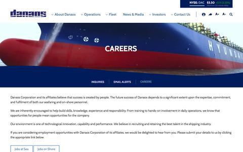 Screenshot of Jobs Page danaos.com - Danaos Corporation - Contact Us - Careers - captured May 31, 2016