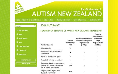 Screenshot of Signup Page autismnz.org.nz - Autism New Zealand Inc. - Join - captured Oct. 4, 2014