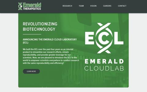 Screenshot of Home Page emeraldtherapeutics.com - Emerald Therapeutics - captured Sept. 16, 2014