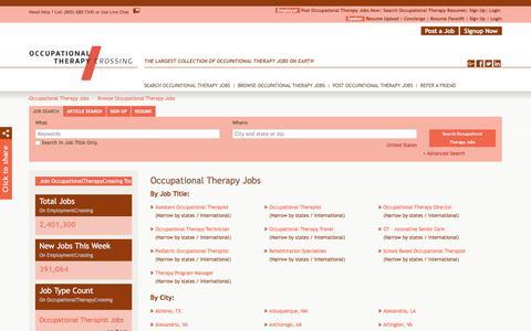 Screenshot of Jobs Page occupationaltherapycrossing.com - Occupational Therapy Jobs, Browse Jobs in Occupational Therapy By Job Type, City, State in United States | OccupationalTherapyCrossing.com - captured Sept. 21, 2018