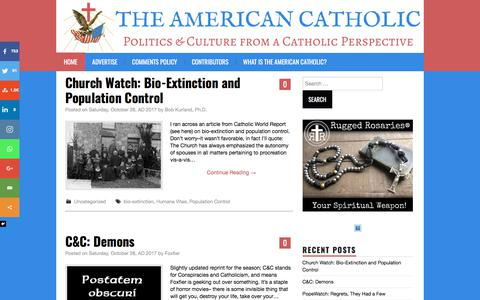 Screenshot of Home Page the-american-catholic.com - The American Catholic - Politics & Culture from a Catholic Perspective - captured Oct. 29, 2017