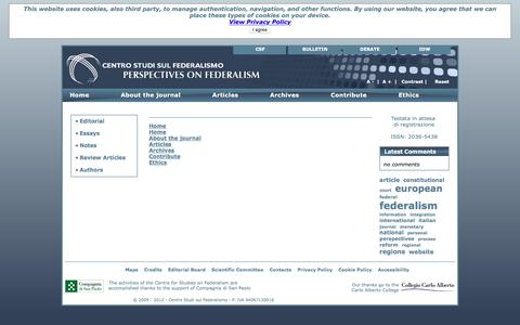Screenshot of Menu Page on-federalism.eu - Perspectives on Federalism - captured May 21, 2016