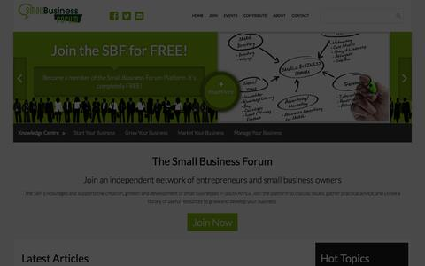Screenshot of Home Page small-business-forum.co.za - Home - The Small Business Forum South Africa - captured Feb. 27, 2016