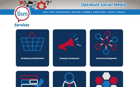 Screenshot of Services Page optimizesocialmedia.net - Social Media Marketing Services | Optimize Social Media - captured Feb. 14, 2016