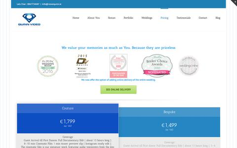 Screenshot of Pricing Page ronanquinn.ie - Wedding DVD Prices - Affordable Wedding DVDs - captured Sept. 22, 2017